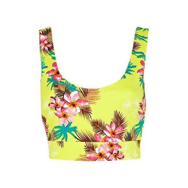 Hawaiian print ❤ liked on Polyvore featuring tops, hawaiian tops, bandeau tops, bralette crop top, yellow bandeau top and cut-out crop tops
