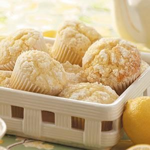 Lemon Crumb Muffins Recipe -I love to have the dough for these muffins ready and waiting in the refrigerator when company comes. They bake up in just 20 minutes and taste delicious warm. Their cake-like texture makes them perfect for breakfast, dessert or snacking. —Claudette Brownlee, Kingfisher, Oklahoma