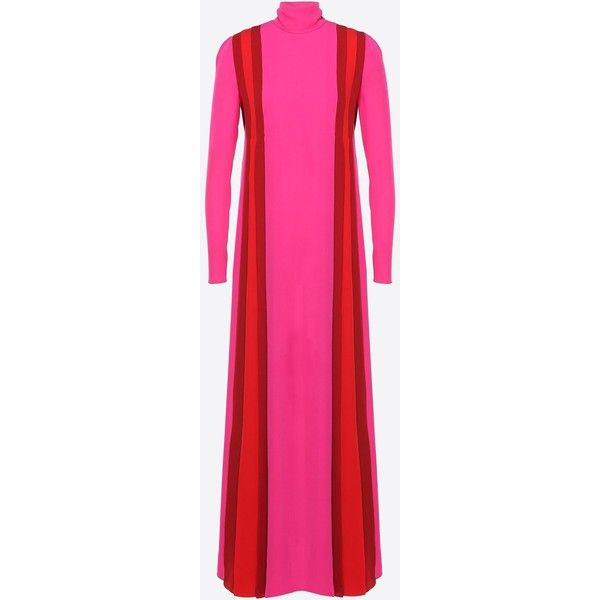 Valentino High-neck Georgette Dress (€4.945) ❤ liked on Polyvore featuring dresses, fuchsia, long sleeve turtleneck, turtleneck dress, fuchsia pink dress, long sleeve turtleneck dress and pink dress
