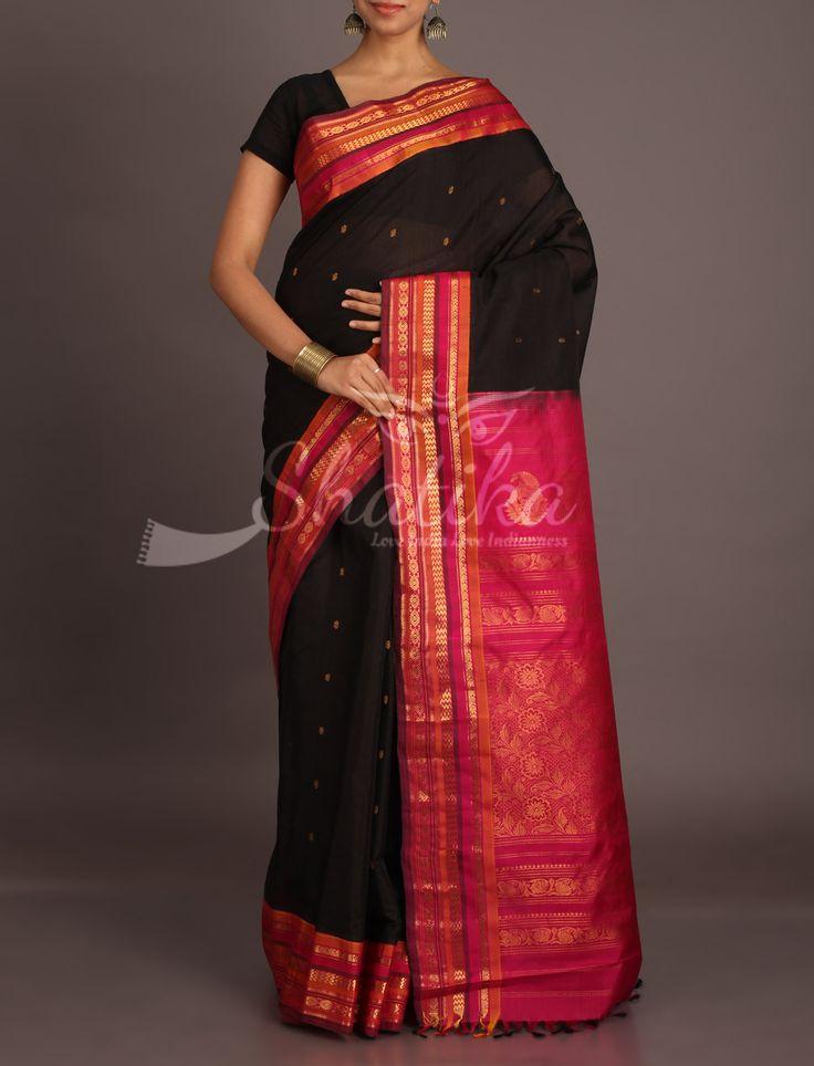 Kavita Black With Traditional Gold Bootis Crimson Pink Stripe Border Pure Gadwal Silk Cotton Saree