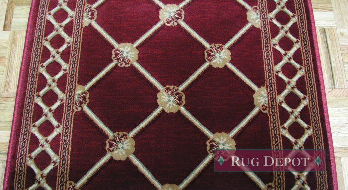 Kane Traditional Trellis CHERRYWOOD European Hall and Stair Runner - Red