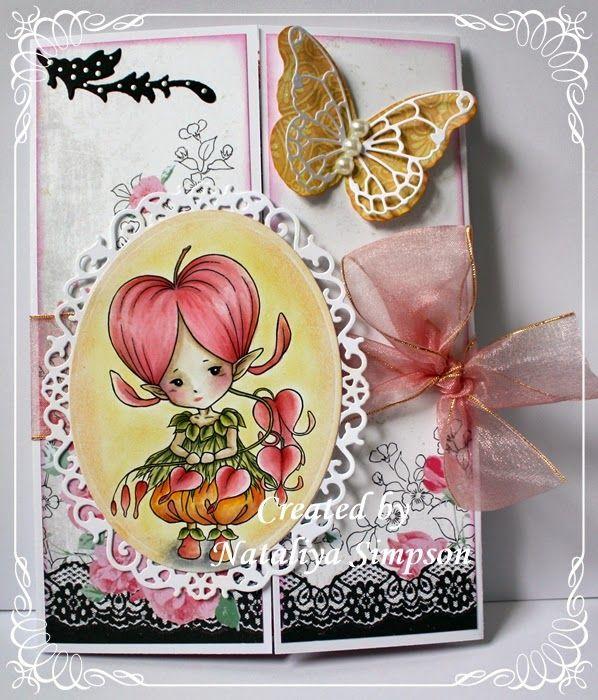 """Bleeding Hearts Sprite"" stamp by Mitzi Sato Wiuff."