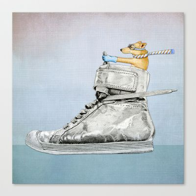 Dog Driving a Shoe Stretched Canvas by Floating Lemons