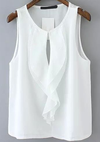Ruffle Hollow Chiffon White Vest