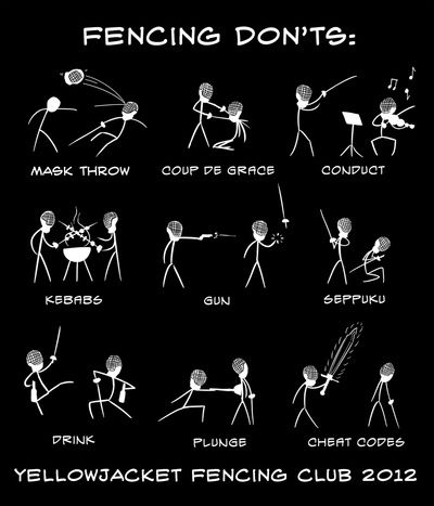 Yellow Jacket Fencing Club 2012 T-shirt contest winner (stick figures) Art Print