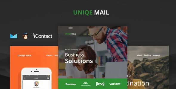 Uniqe Mail - Responsive Email set   Online Access by williamdavidoff Uniqe Mail Responsive Email Templates Bundle 4 Different Templates.1 Business   1 Apps   1 Travel   1 Shop Features:Modern and Clean DesignResponsive Design4 Different Email Templates Mailchimp Ready campaign monitor Ready iconta