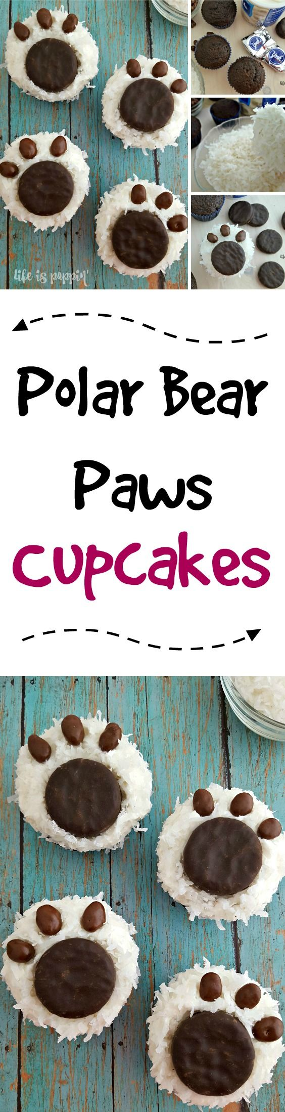 I just love themed cupcakes and these adorable Polar Bear Paw cupcakes are one of my favorite desserts to make, especially when I am in a hurry. Not only do they look great but they are super easy to make.