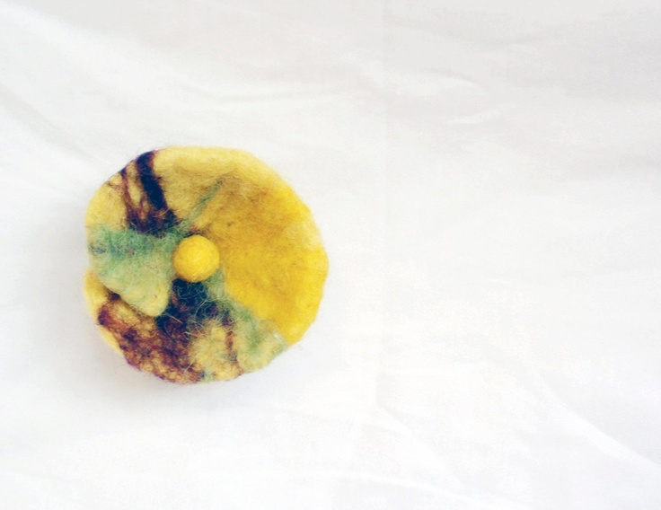 The Little Bee's Joy - Needle felted brooch. $15.00, via Etsy.
