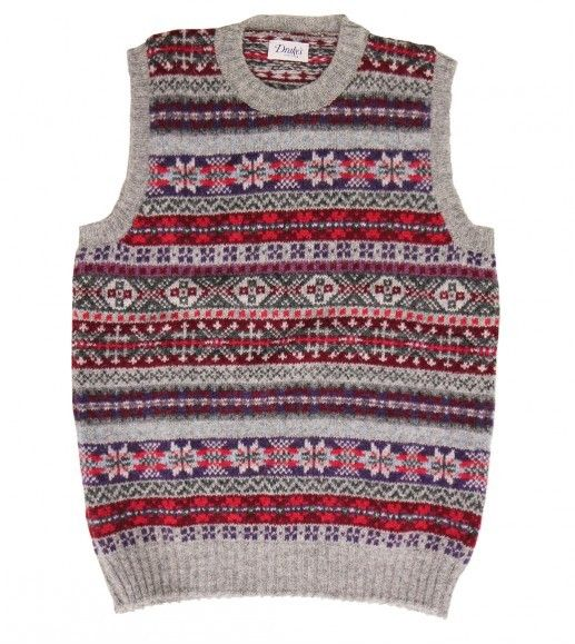 Sleeveless Shetland Wool Fairisle Crew Neck Pullover - Knitwear - Drakes London