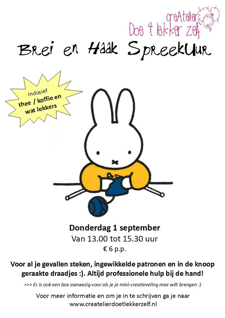 Donderdag 1 september Brei en Haak SpreekUur van 13.00 tot 15.30 uur