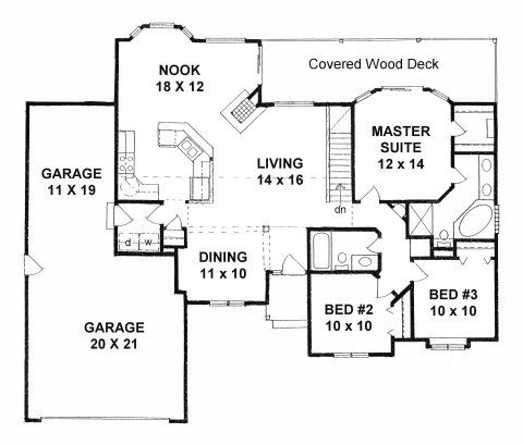 Plan 1436 3 Bedroom Ranch W Tandem 3 Car Garage