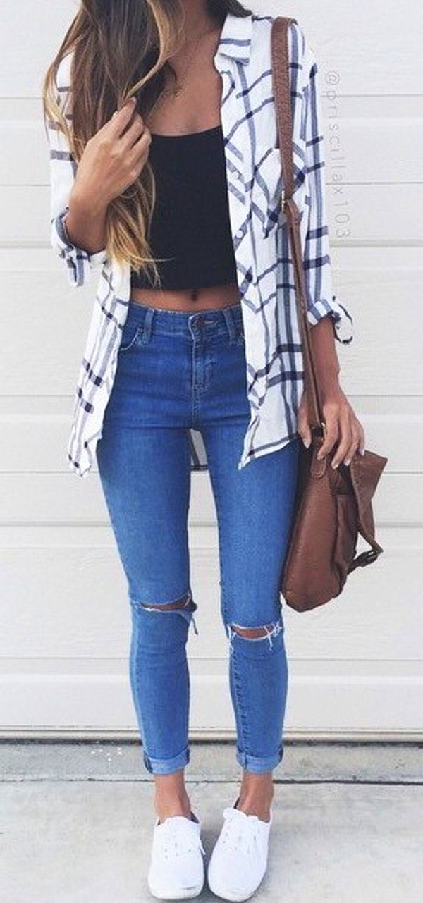 #fall #outfits  women's white adn black casual shirt with black crop top and distressed denim jeans
