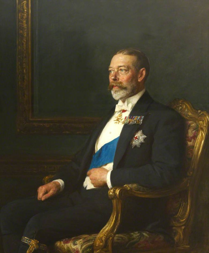 "King George V (George Frederick Ernest Albert) (3 Jun 1865-20 Jan 1936) UK by Arthur Stockdale Cope in 1926. 2nd Child of King Edward VII (Albert Edward) (1841-1910) UK & wife Princess Alexandra (1844-1925) Denmark. Husband 1893 of Princess Mary ""May"" (26 May 1867-24 Mar 1953) Teck, Germany."