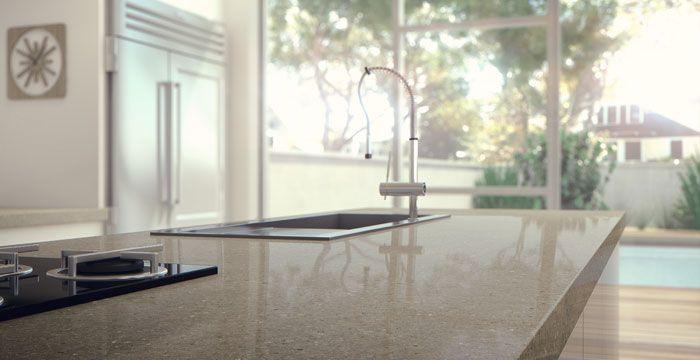 kitchen, countertop, quartz (Caesarstone quartz countertop in Shitake 4230)