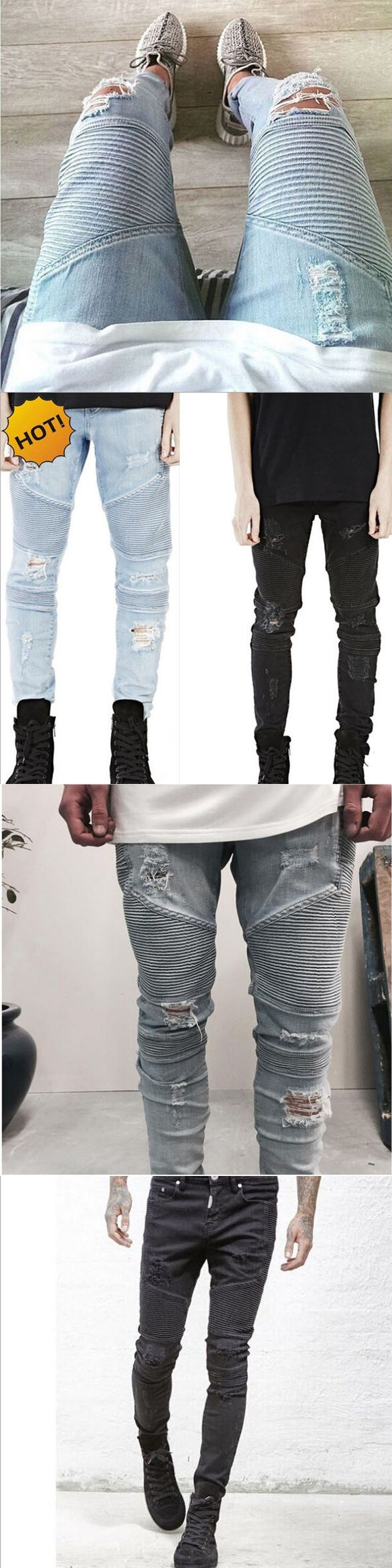 Hot 2017 Hip Hop Hole Ripped Jeans Men Fashion Pleated Runway Distressed Biker Boy Blue/Black Motorcycle Trousers Bottoms 28-40