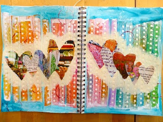 Made by Nicole: Hearts Art Journal Page I'm inspired to glue steno ends to colorful background then add memo sheets cut into circles to journal on across the center