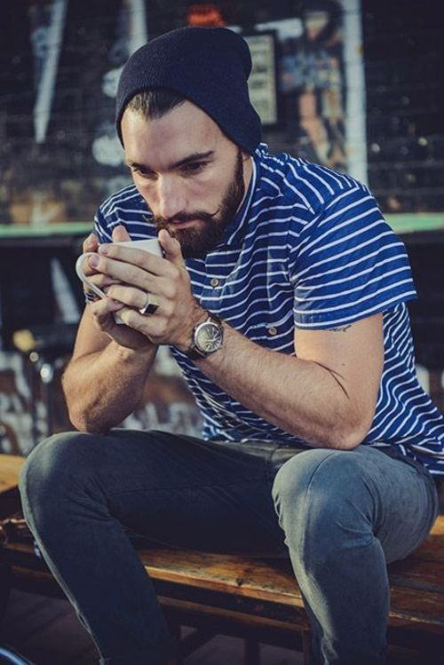 Shop this look for $29:  http://lookastic.com/men/looks/navy-beanie-and-blue-horizontal-striped-polo-and-navy-jeans/2257  — Navy Beanie  — Blue Horizontal Striped Polo  — Navy Jeans