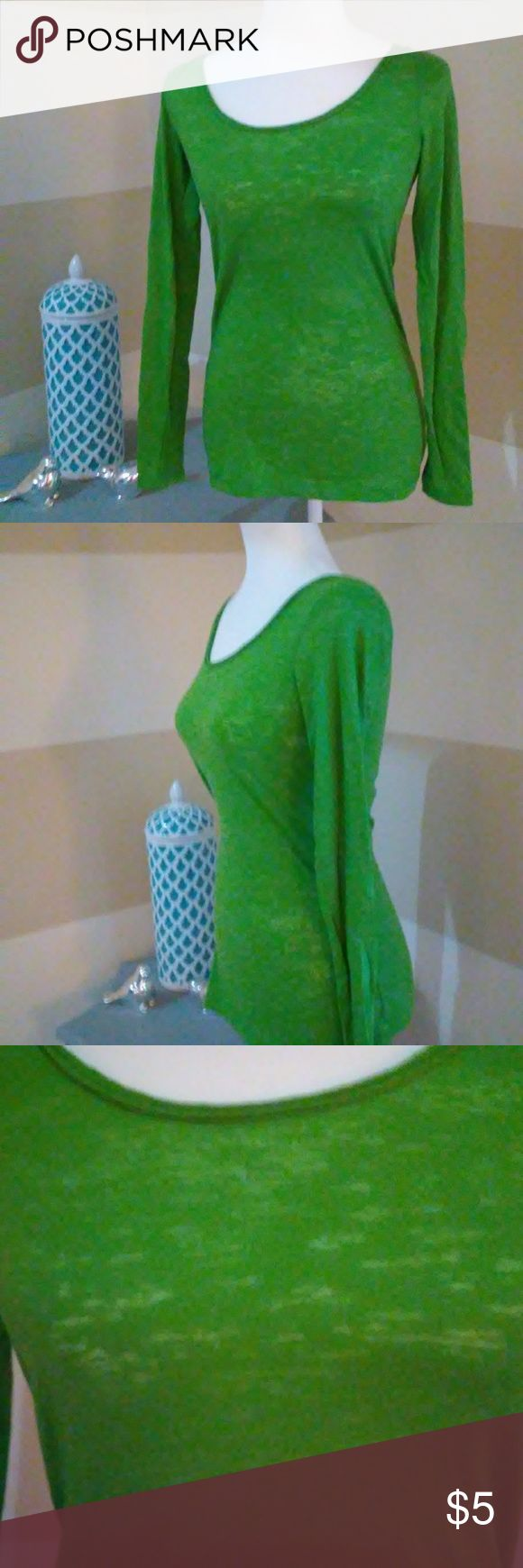 🍀Lime Green Long Sleeve Top🍀 Lime green long sleeve top material is sheer you would need a cami underneath or bralette. Perfect for st. Patrick's Day🍀 Mossimo Supply Co. Tops Tees - Long Sleeve