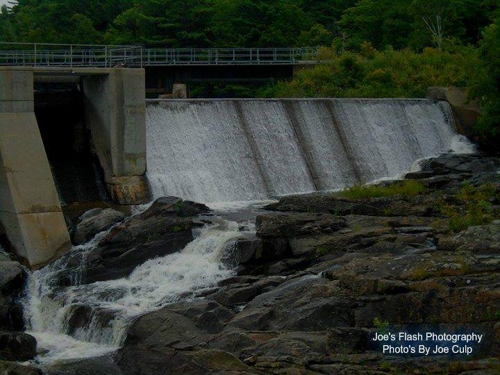 The Cascade falls at the Cascade dam on the seguin River in Parry Sound Ontario
