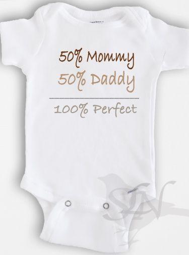 Funny baby Onesie Bodysuit - Baby Boy or Girl Clothing - 50% Mommy+50% daddy= 10... 2