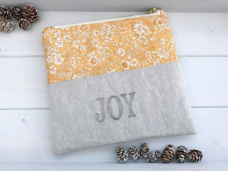 Zipper pouch, Joy, Liberty of London, Hobby bag, Make up bag, Notions pouch, Cosmetic bag, Gifts for her, Cotton zip bag