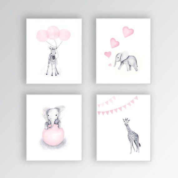 Baby Girl Nursery Art CANVASES, Animal Nursery Decor, Elephant Nursery, Zebra Nursery Art, Set of Four – S426