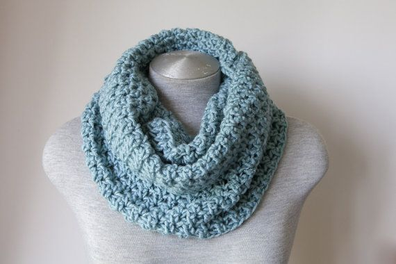 Crochet infinity scarf in Duck Egg Blue was crochet from a chunky yarn with amazing softness. By SweetMaya on Etsy