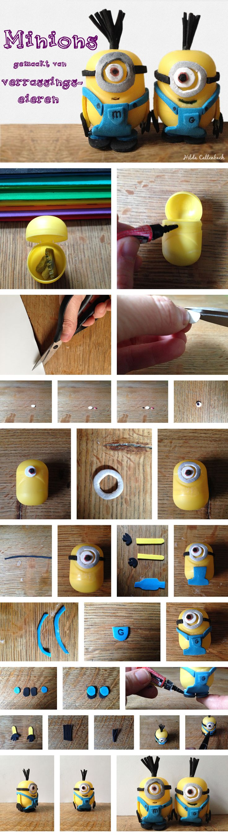 Casper wilde zooo graag een minion... Toen zag ik dat een verrassingsei van Kindersurprise al bijna een minion is. Aan de slag!  Making a minion out of a surpise egg. DIY