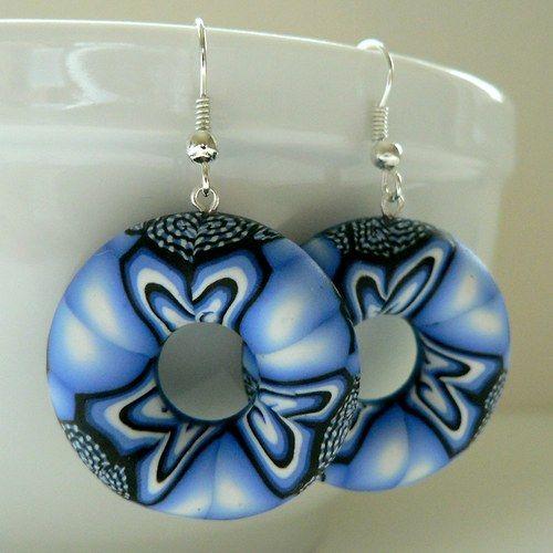 Modrý kaleidoskop - náušnice,  polymer clay, fimo