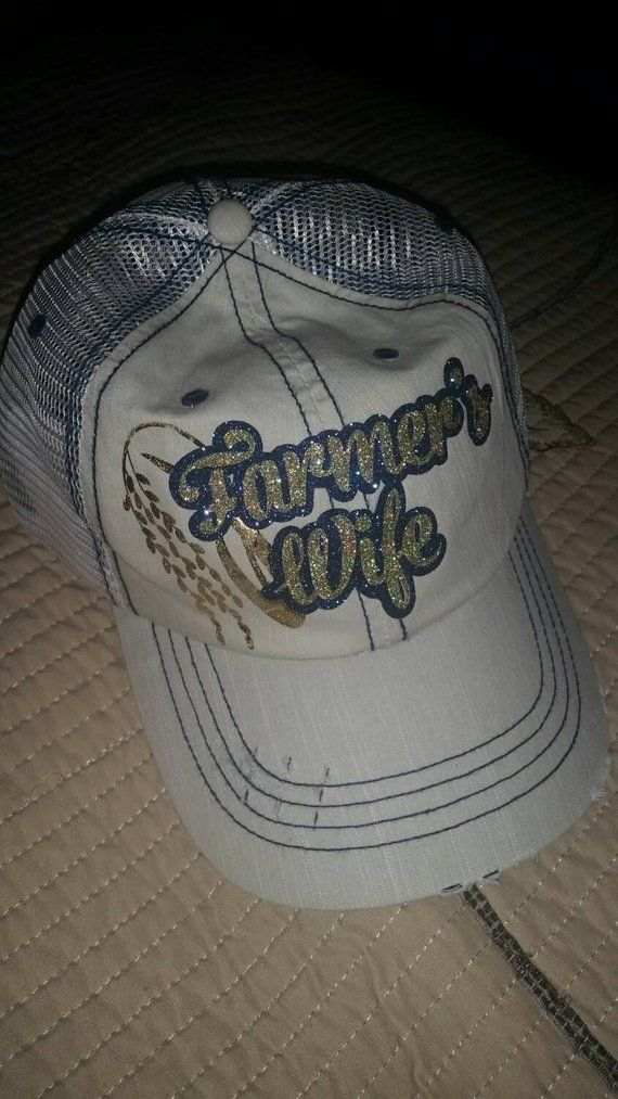 78511b07bb1 Farmer s Wife glitter distressed baseball cap Any Crop available ...