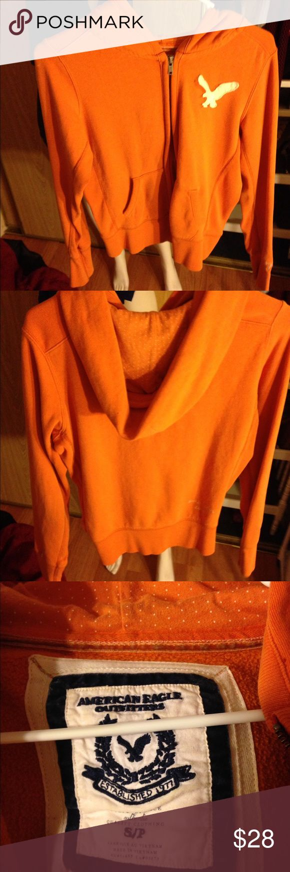AMERICAN EAGLE OUTFITTERS Orange Hoodie Jacket Cute AMERICAN EAGLE OUTFITTERS Hoodie Jacket. Orange/ White color. Size Small woman's. Great condition. American Eagle Outfitters Jackets & Coats