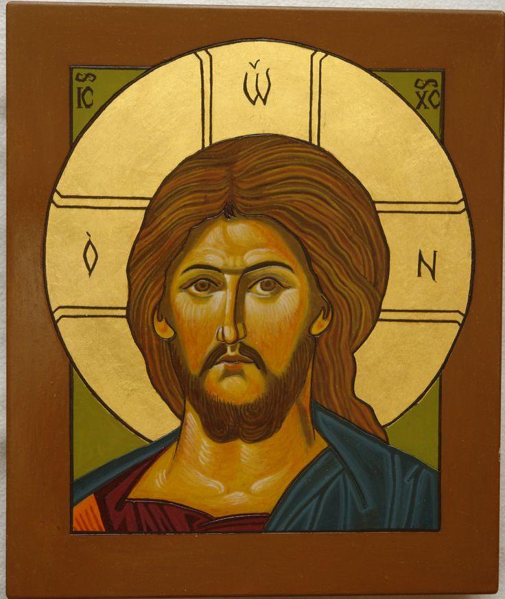 Pantokrator, deska 20x35, nimb złocony na mixtion, tempera, Pracownia Ikon Serca Jezusowego w Tarnowie Podgórnym