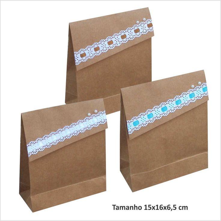 Sacola em papel kraft  tamanho 15 larg x 16 alt x 6,5 cm lateral  aba com bordado inglês e cetim    ** Escolha a cor do cetim    Ideal para pequenas lembrancinhas de casamento, aniversário, etc.