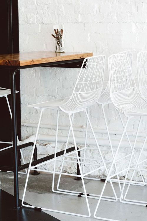 white wire barstools by bend adore
