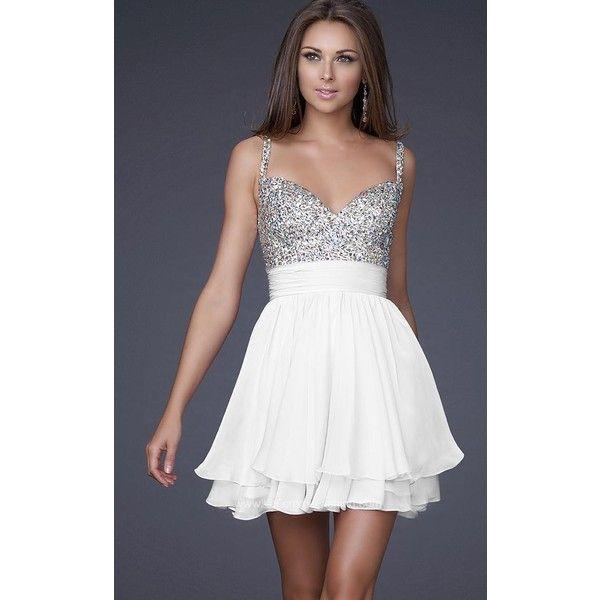 La Femme 16813 Prom Sequin Dress Mini Halter Sleeveless (£175) ❤ liked on Polyvore featuring dresses, formal dresses, white, white sequin dress, short homecoming dresses, short white cocktail dress, short cocktail dresses and formal cocktail dresses