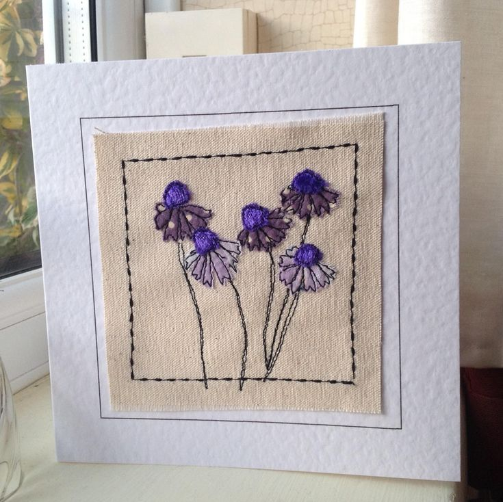 Applique flower card. Handmade card can be personalised with your words for birthday, thank you, get well or any occasion.