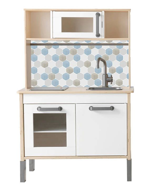 Hack your IKEA Duktig play kitchen with this vinyl splashback sticker in HEX TILES BLUE design. This product includes 1 big sticker, perfect for hacking your IKEA Duktig play kitchen by adding a cool, modern splashback. (Furniture not included!) Stick and go: See the sticker