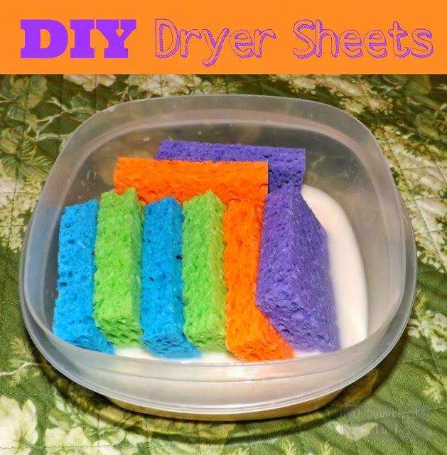Des éponges imbibées d'adoucissant dans le sèche linge, pour un linge parfumé - Réutilisables - DIY Never Ending Dryer Sheets