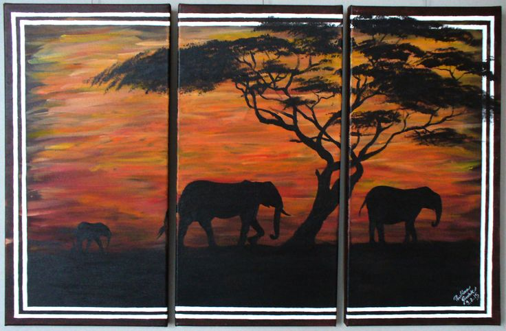 Elephants, acrylic on canvas, 40 x 60 cm  all rights reserved