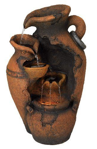 Moroccan Indoor Fountain by Universal Lighting and Decor. $99.99. This fountain references the classic Mediterranean jug shape with its curled handles and spouted water falls. Water cascades gently from one level to the next, creating a pleasant look and sound. The bottom chamber is lighted for extra appeal. It comes in an aged pottery finish allows the fountain to mimic the look of an ancient artifact.. Save 33% Off!