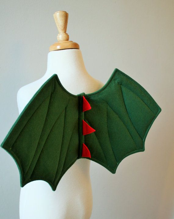 Children's Dragon Wings, Dinosaur Wings, Green Felt, Quality UK Handmade Fancy Dress Costume, Kids, Toddlers, Boys, Girls, Dressing Up