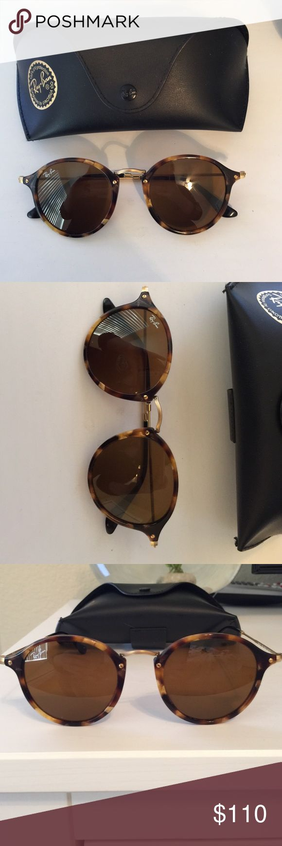 Rayban round fleck sunglasses Ray ban round fleck sunglasses. Tortoise coloring with gold nose piece. Excellent condition. Ray-Ban Accessories Sunglasses