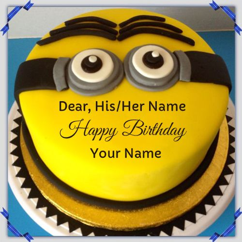 Birthday Wishes Minion Face Photo Cake With Your Name