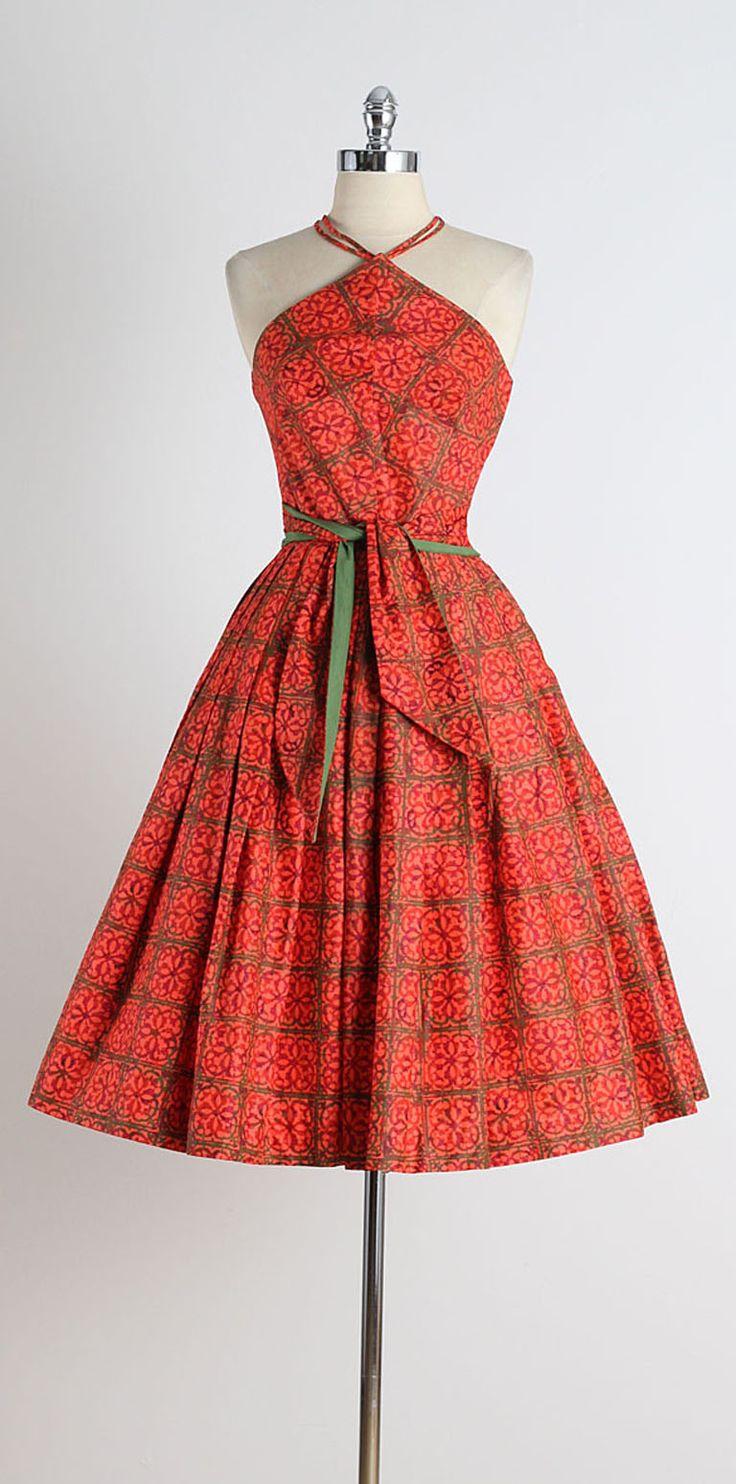 1950s Joan Miller Triangle Halter Polished Cotton Dress
