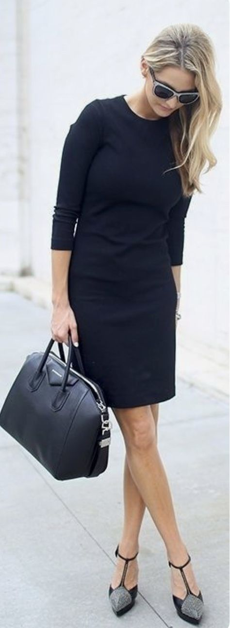 Stitch Fix Fashion 2017! Ask your stylist for something like this in your next fix, delivered right to your door! #sponsored #StitchFix  Black 3/4 length sleeved dress. Business attire