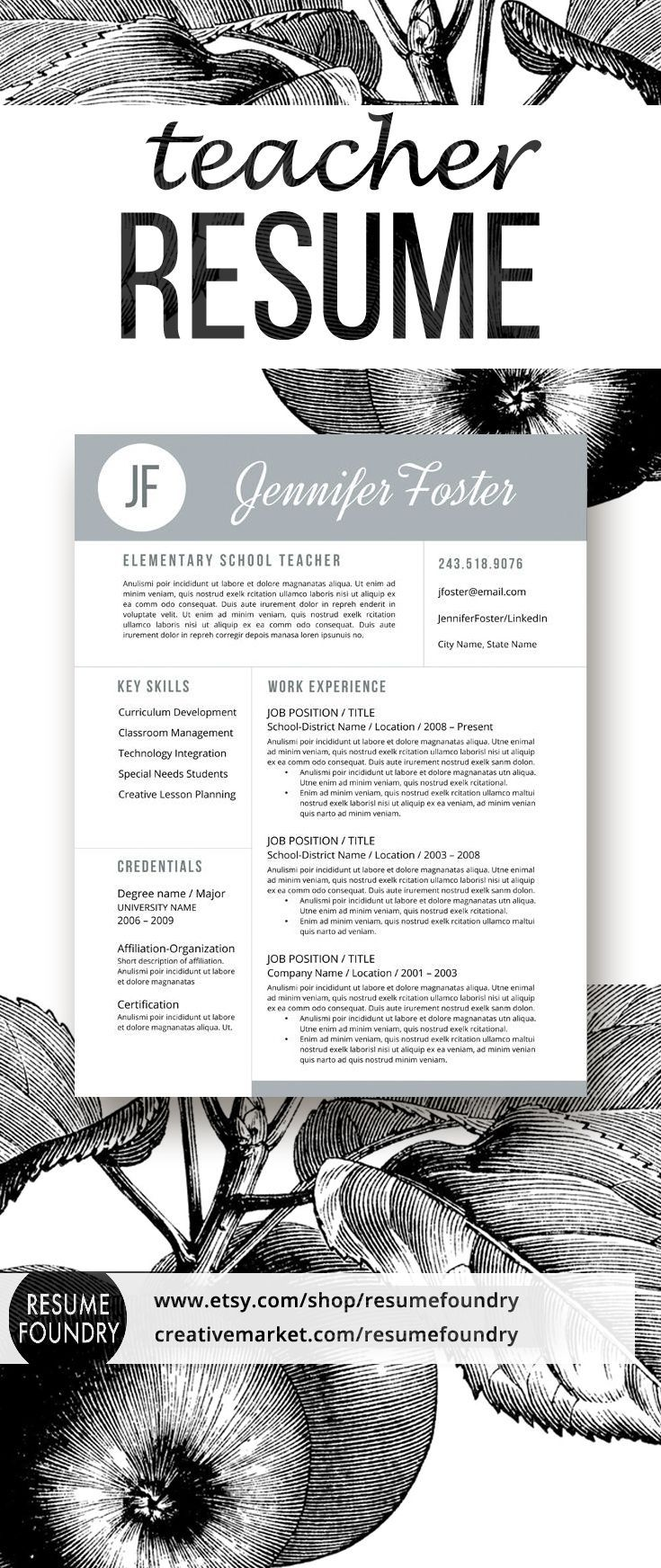 46 best teacher resumes images on pinterest