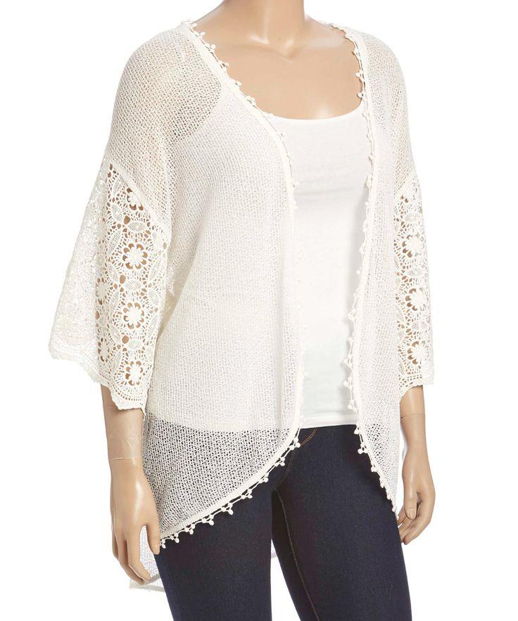 Soiéblu White Crochet Kimono