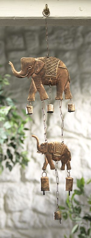 Wind Chime Wind Chime with 2 Elephants and Bells MD107 Fair trade by Namaste