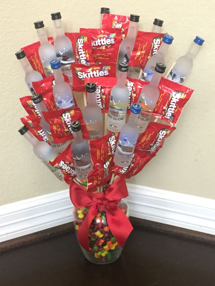 Grey Goose Alcohol Bouquet [Arrangement] one of my best. By far the heaviest arrangement I've made, due to the 16 glass bottles. #SundaraDesign