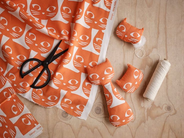 orange and white cat fabric from IKEA Australia on The Life Creative